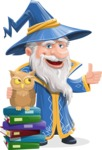 Wizard with a Hat Cartoon Vector Character AKA Waldo the Wise Wizard - Books and Owl