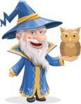 Wizard with a Hat Cartoon Vector Character AKA Waldo the Wise Wizard - Owl