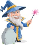 Wizard with a Hat Cartoon Vector Character AKA Waldo the Wise Wizard - Grave