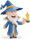 Wizard with a Hat Cartoon Vector Character AKA Waldo the Wise Wizard - Candle