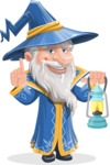 Wizard with a Hat Cartoon Vector Character AKA Waldo the Wise Wizard - Lantern