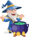 Wizard with a Hat Cartoon Vector Character AKA Waldo the Wise Wizard - Making Decoction 1