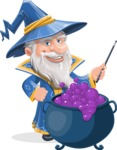 Wizard with a Hat Cartoon Vector Character AKA Waldo the Wise Wizard - Making Decoction 2