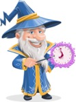 Wizard with a Hat Cartoon Vector Character AKA Waldo the Wise Wizard - Time