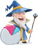 Wizard with a Hat Cartoon Vector Character AKA Waldo the Wise Wizard - Chart