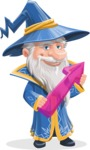 Wizard with a Hat Cartoon Vector Character AKA Waldo the Wise Wizard - Arrow 2