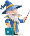 Wizard with a Hat Cartoon Vector Character AKA Waldo the Wise Wizard - Briefcase