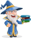 Wizard with a Hat Cartoon Vector Character AKA Waldo the Wise Wizard - Magic Books