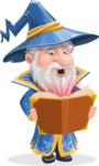 Wizard with a Hat Cartoon Vector Character AKA Waldo the Wise Wizard - Magic Book 2
