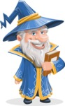 Wizard with a Hat Cartoon Vector Character AKA Waldo the Wise Wizard - Book
