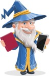 Wizard with a Hat Cartoon Vector Character AKA Waldo the Wise Wizard - Book or Tablet