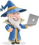Wizard with a Hat Cartoon Vector Character AKA Waldo the Wise Wizard - Laptop 1