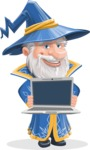Wizard with a Hat Cartoon Vector Character AKA Waldo the Wise Wizard - Laptop 2