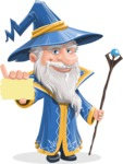Wizard with a Hat Cartoon Vector Character AKA Waldo the Wise Wizard - Sign 1