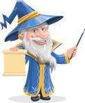 Wizard with a Hat Cartoon Vector Character AKA Waldo the Wise Wizard - Sign 2