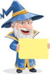 Wizard with a Hat Cartoon Vector Character AKA Waldo the Wise Wizard - Sign 3