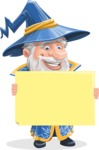 Wizard with a Hat Cartoon Vector Character AKA Waldo the Wise Wizard - Sign 4
