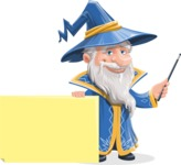Wizard with a Hat Cartoon Vector Character AKA Waldo the Wise Wizard - Sign 6