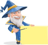 Wizard with a Hat Cartoon Vector Character AKA Waldo the Wise Wizard - Sign 7