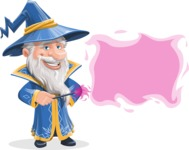 Wizard with a Hat Cartoon Vector Character AKA Waldo the Wise Wizard - Sign 8