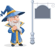 Wizard with a Hat Cartoon Vector Character AKA Waldo the Wise Wizard - Street Sign