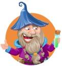 Wizard with Beard Cartoon Vector Character AKA Osborne the Magic Virtuoso - Shape 2