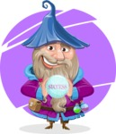 Wizard with Beard Cartoon Vector Character AKA Osborne the Magic Virtuoso - Shape 5