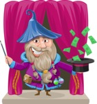 Wizard with Beard Cartoon Vector Character AKA Osborne the Magic Virtuoso - Shape 8