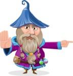 Wizard with Beard Cartoon Vector Character AKA Osborne the Magic Virtuoso - Direct Attention 1