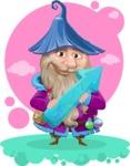 Wizard with Beard Cartoon Vector Character AKA Osborne the Magic Virtuoso - Shape 12