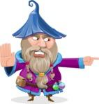 Wizard with Beard Cartoon Vector Character AKA Osborne the Magic Virtuoso - Direct Attention 2