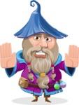 Wizard with Beard Cartoon Vector Character AKA Osborne the Magic Virtuoso - Stop 2
