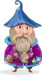 Wizard with Beard Cartoon Vector Character AKA Osborne the Magic Virtuoso - Sad