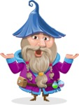Wizard with Beard Cartoon Vector Character AKA Osborne the Magic Virtuoso - Shocked