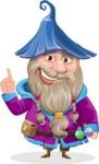 Wizard with Beard Cartoon Vector Character AKA Osborne the Magic Virtuoso - Attention