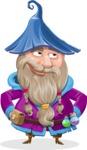 Wizard with Beard Cartoon Vector Character AKA Osborne the Magic Virtuoso - Roll Eyes