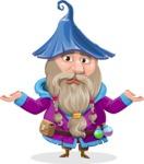 Wizard with Beard Cartoon Vector Character AKA Osborne the Magic Virtuoso - Confused