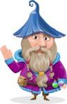 Wizard with Beard Cartoon Vector Character AKA Osborne the Magic Virtuoso - GoodBye