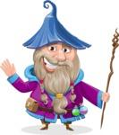 Wizard with Beard Cartoon Vector Character AKA Osborne the Magic Virtuoso - Hello