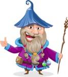Wizard with Beard Cartoon Vector Character AKA Osborne the Magic Virtuoso - Thumbs Up