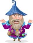 Wizard with Beard Cartoon Vector Character AKA Osborne the Magic Virtuoso - Scary
