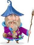 Wizard with Beard Cartoon Vector Character AKA Osborne the Magic Virtuoso - Quiet