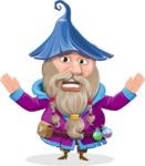 Wizard with Beard Cartoon Vector Character AKA Osborne the Magic Virtuoso - Scared 1