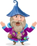 Wizard with Beard Cartoon Vector Character AKA Osborne the Magic Virtuoso - Scared 2