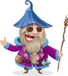 Wizard with Beard Cartoon Vector Character AKA Osborne the Magic Virtuoso - Sunglasses