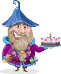 Wizard with Beard Cartoon Vector Character AKA Osborne the Magic Virtuoso - With Cake