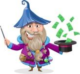 Wizard with Beard Cartoon Vector Character AKA Osborne the Magic Virtuoso - Money