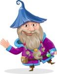 Wizard with Beard Cartoon Vector Character AKA Osborne the Magic Virtuoso - Wave