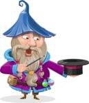 Wizard with Beard Cartoon Vector Character AKA Osborne the Magic Virtuoso - Magic 1