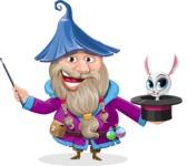 Wizard with Beard Cartoon Vector Character AKA Osborne the Magic Virtuoso - Bunny
